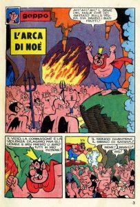 """La prima paginadi una storia di Geppo del 1975: """"L'arca di Noè"""", testi di Alberico Motta e disegni di Sandro Dossi"""