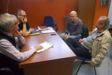 Sbam-redattori durante l'intervista con Alberico Motta e Sandro Dossi